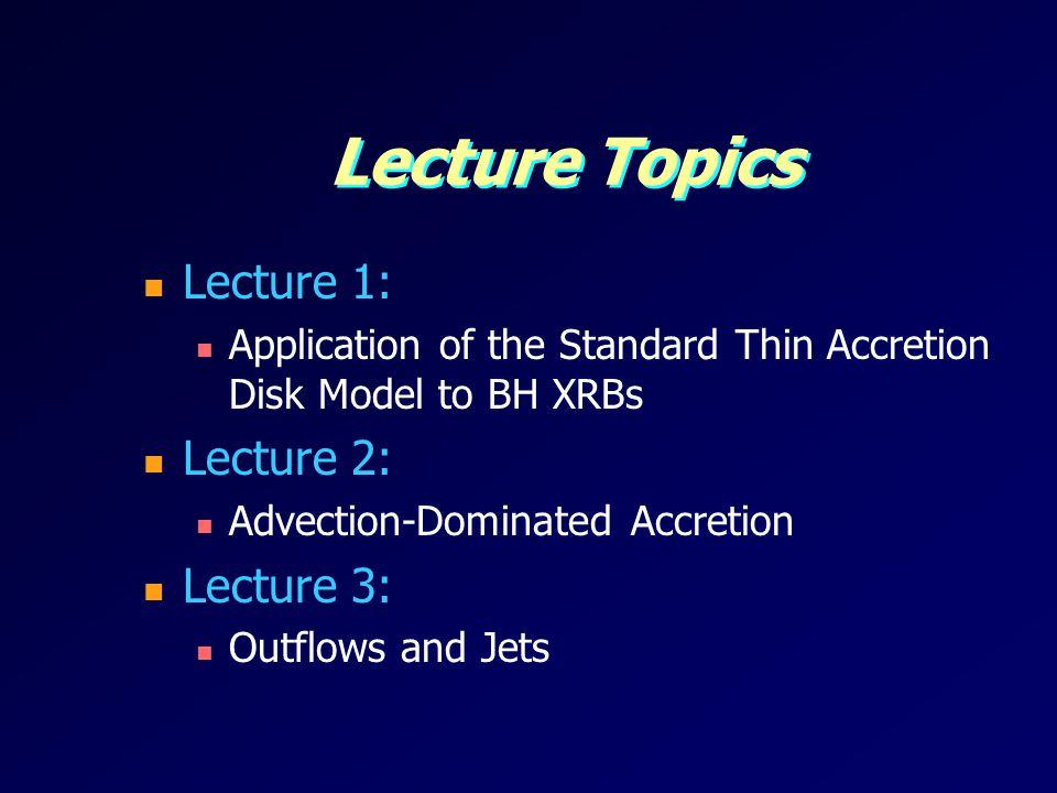 Lecture Topics Lecture 1: Lecture 2: Lecture 3: