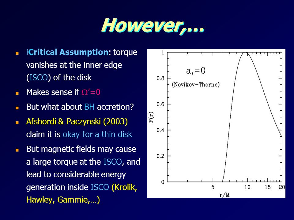 However,… iCritical Assumption: torque vanishes at the inner edge (ISCO) of the disk. Makes sense if '=0.