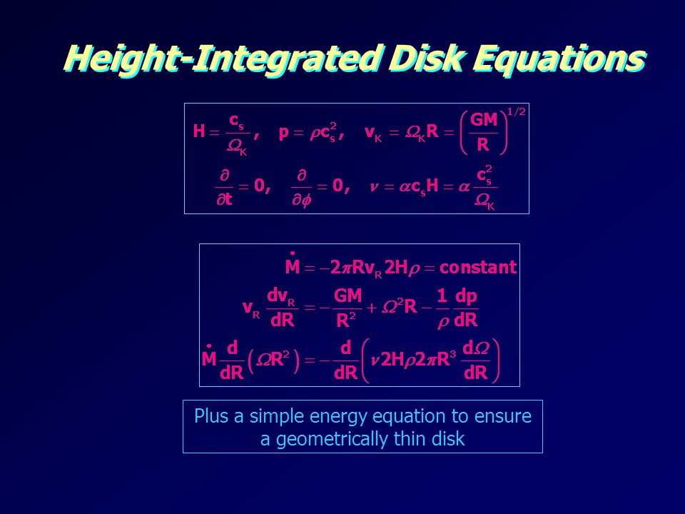 Height-Integrated Disk Equations