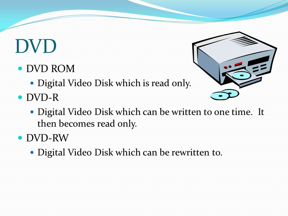DVD DVD ROM DVD-R DVD-RW Digital Video Disk which is read only.