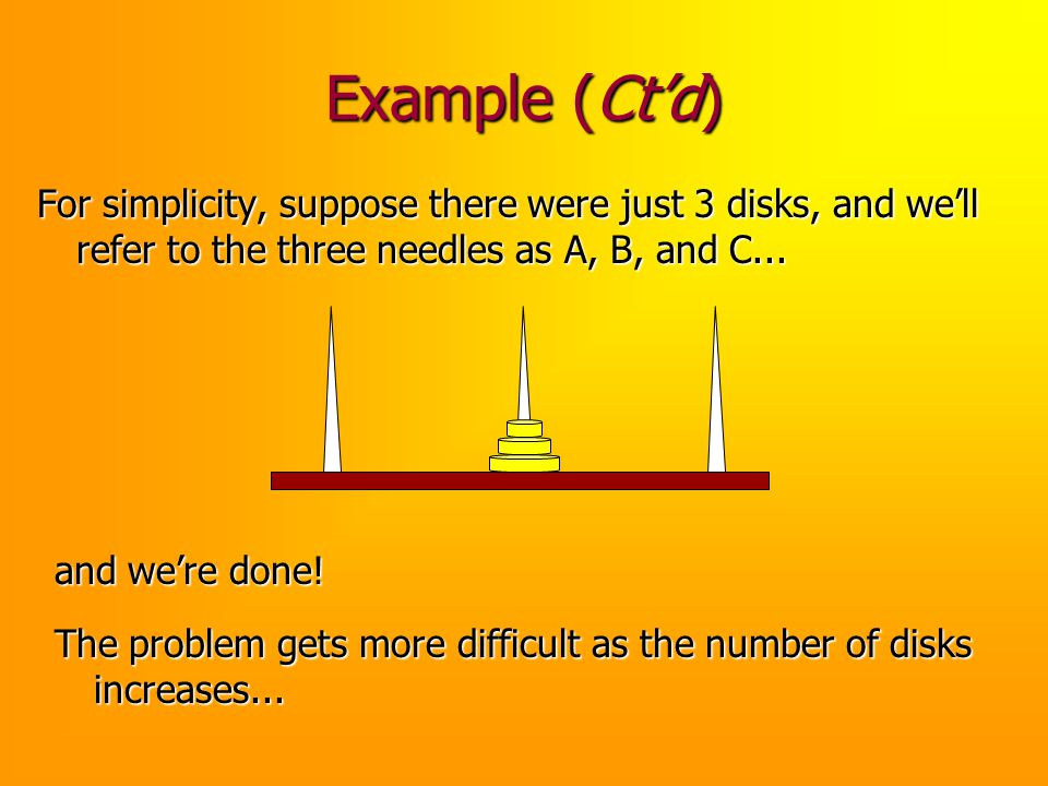 Example (Ct'd) For simplicity, suppose there were just 3 disks, and we'll refer to the three needles as A, B, and C...