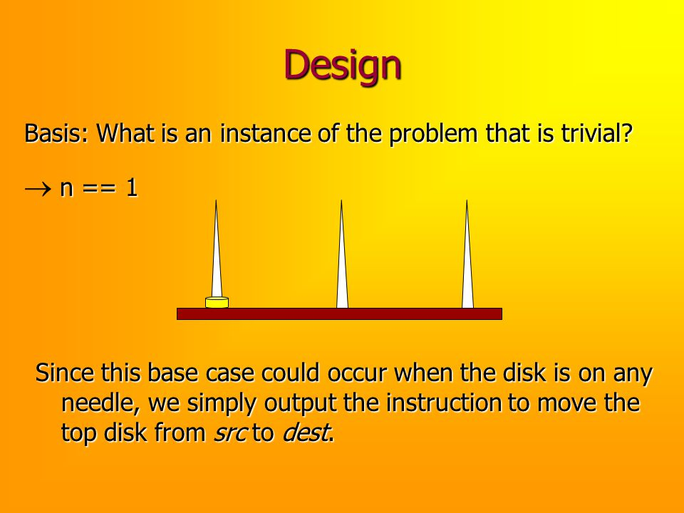 Design Basis: What is an instance of the problem that is trivial ® n == 1.