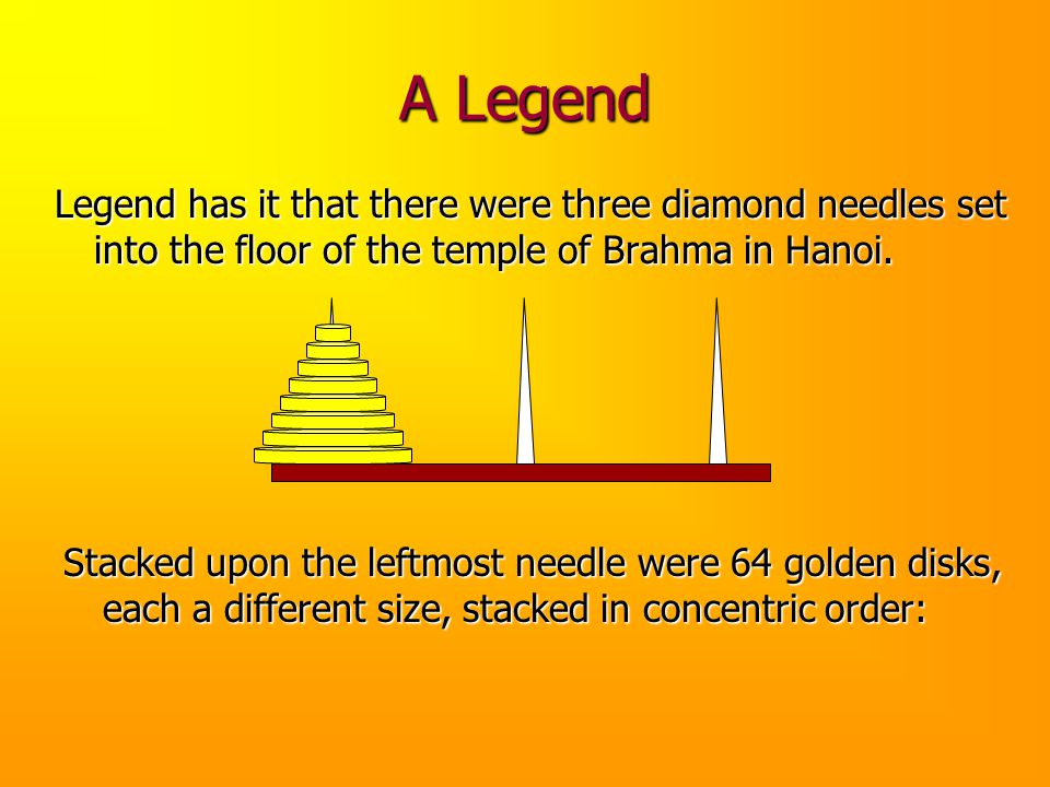 A Legend Legend has it that there were three diamond needles set into the floor of the temple of Brahma in Hanoi.