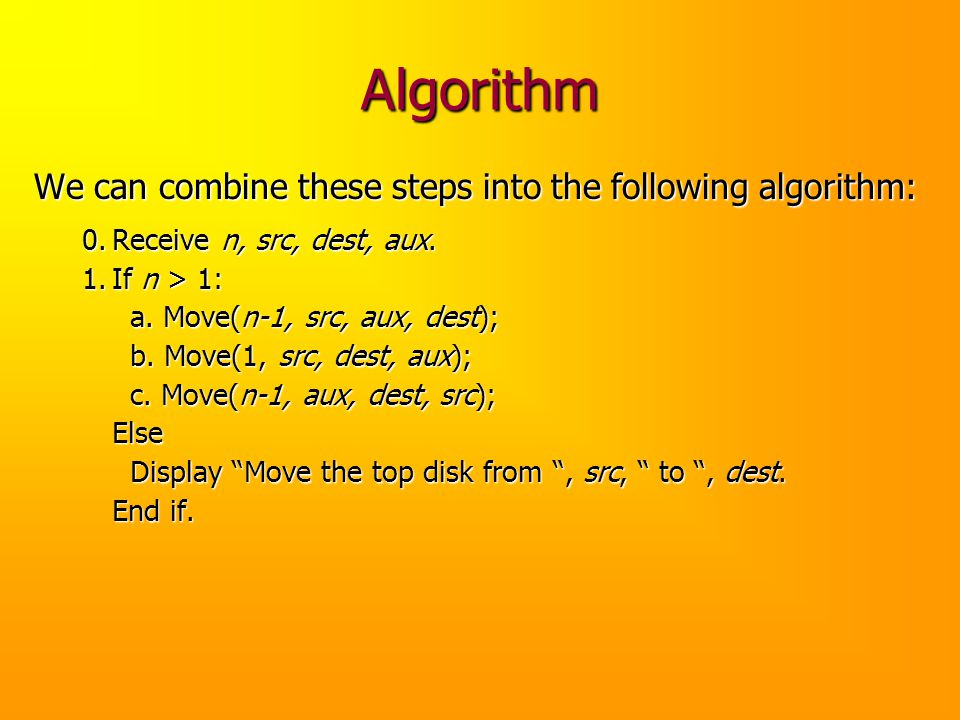 Algorithm We can combine these steps into the following algorithm: