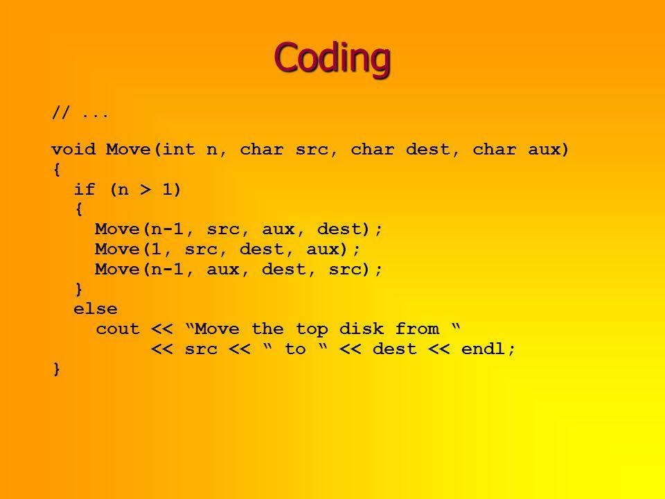 Coding void Move(int n, char src, char dest, char aux) { if (n > 1)