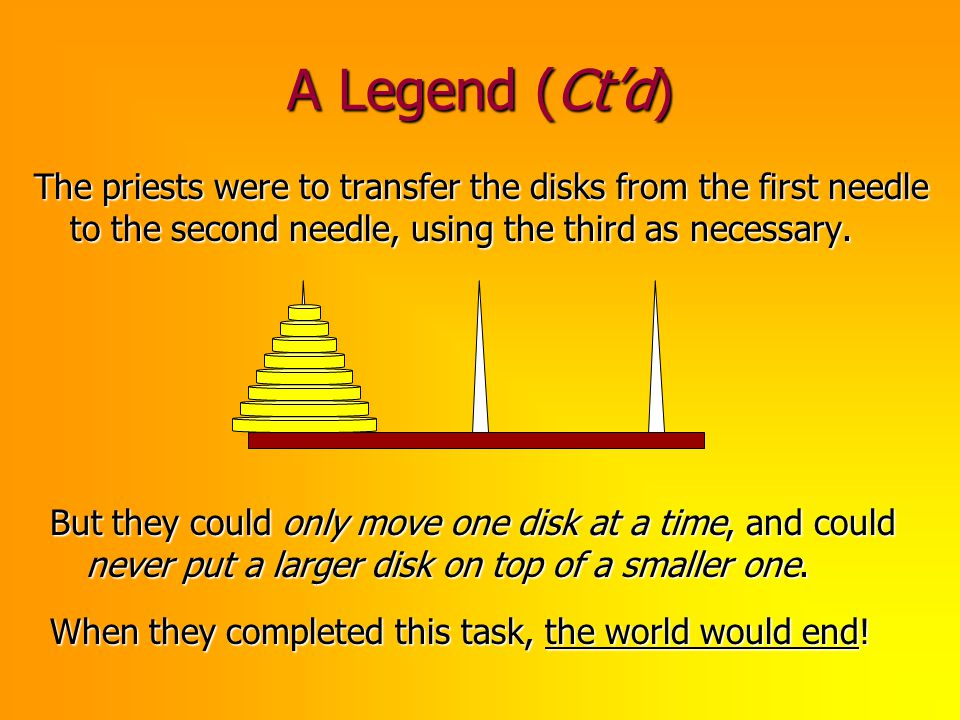 A Legend (Ct'd) The priests were to transfer the disks from the first needle to the second needle, using the third as necessary.