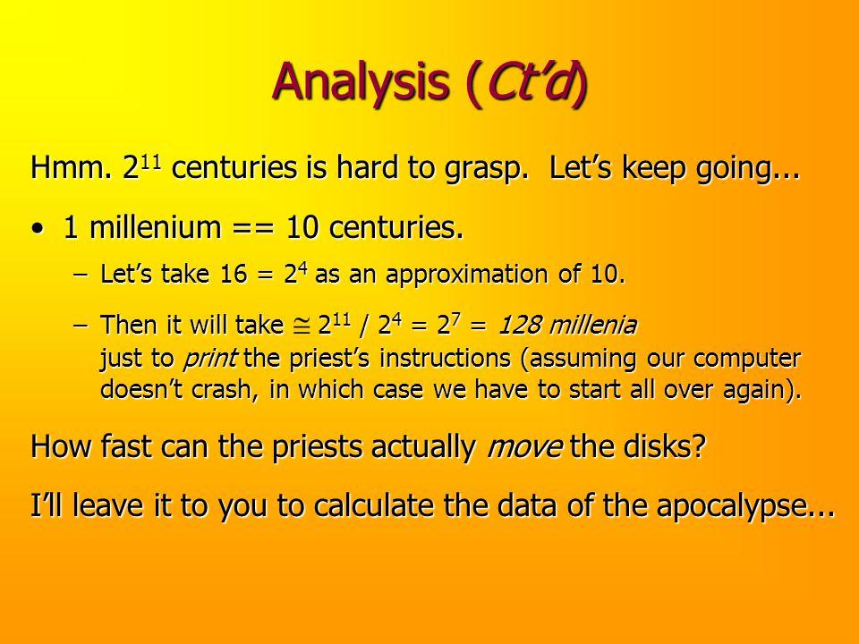 Analysis (Ct'd) Hmm. 211 centuries is hard to grasp. Let's keep going... 1 millenium == 10 centuries.
