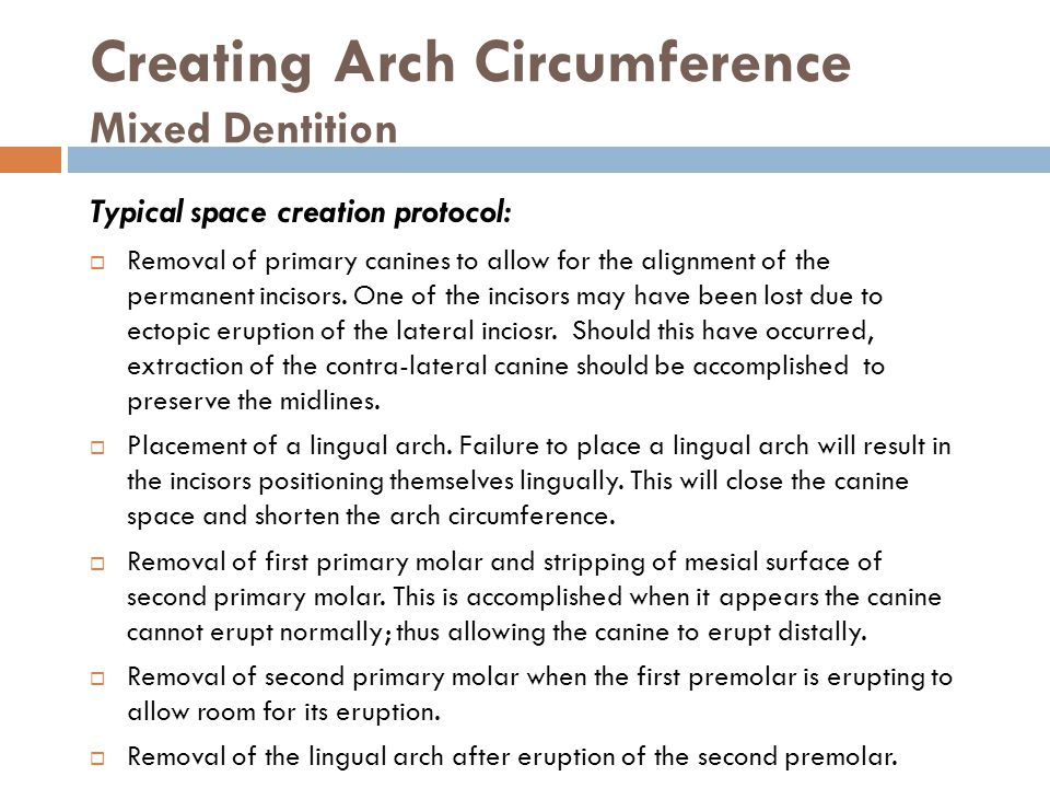 Creating Arch Circumference Mixed Dentition