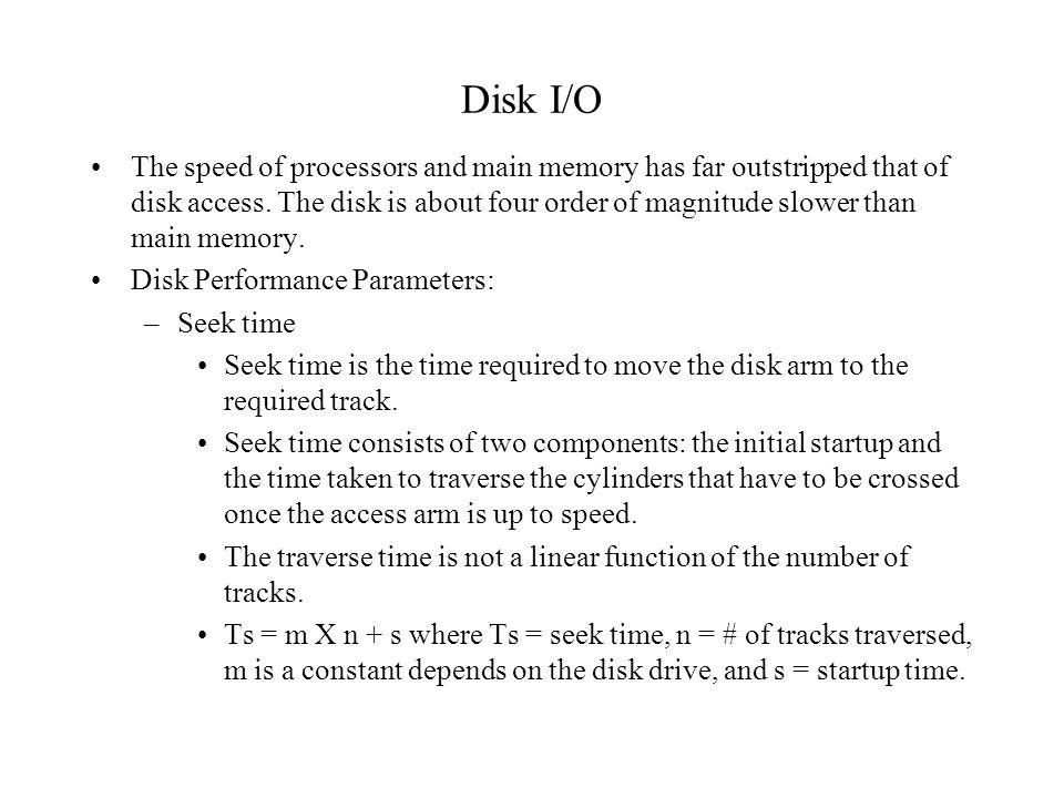 Disk I/O