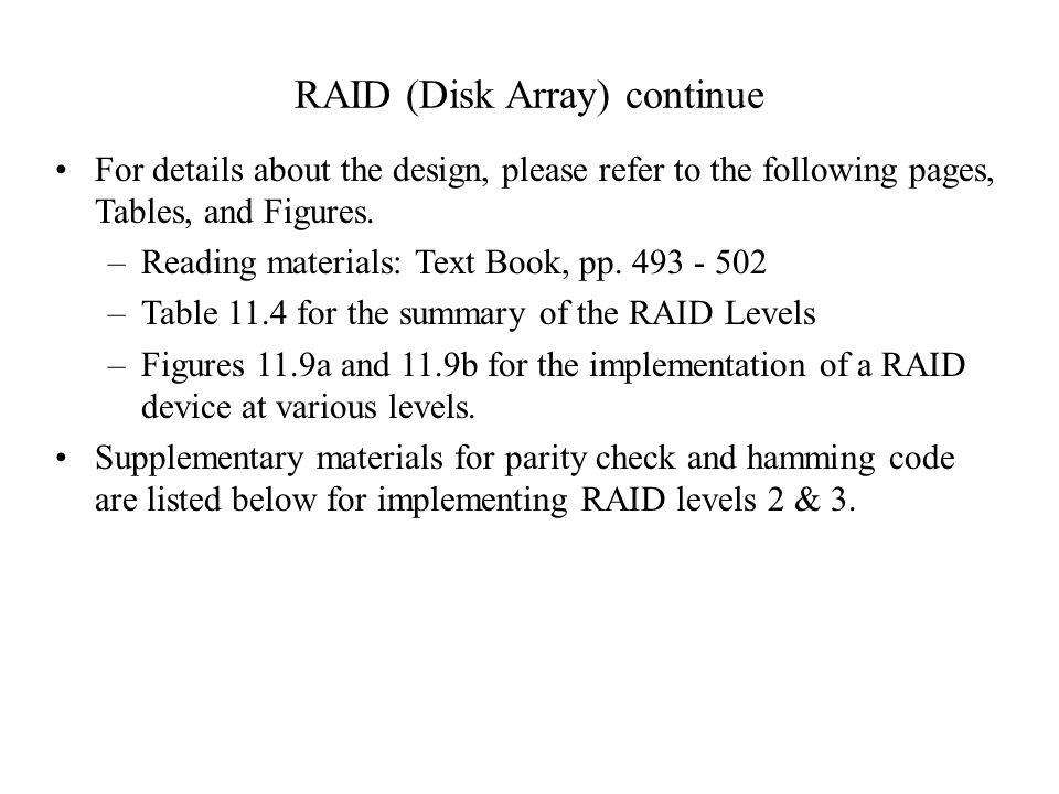 RAID (Disk Array) continue