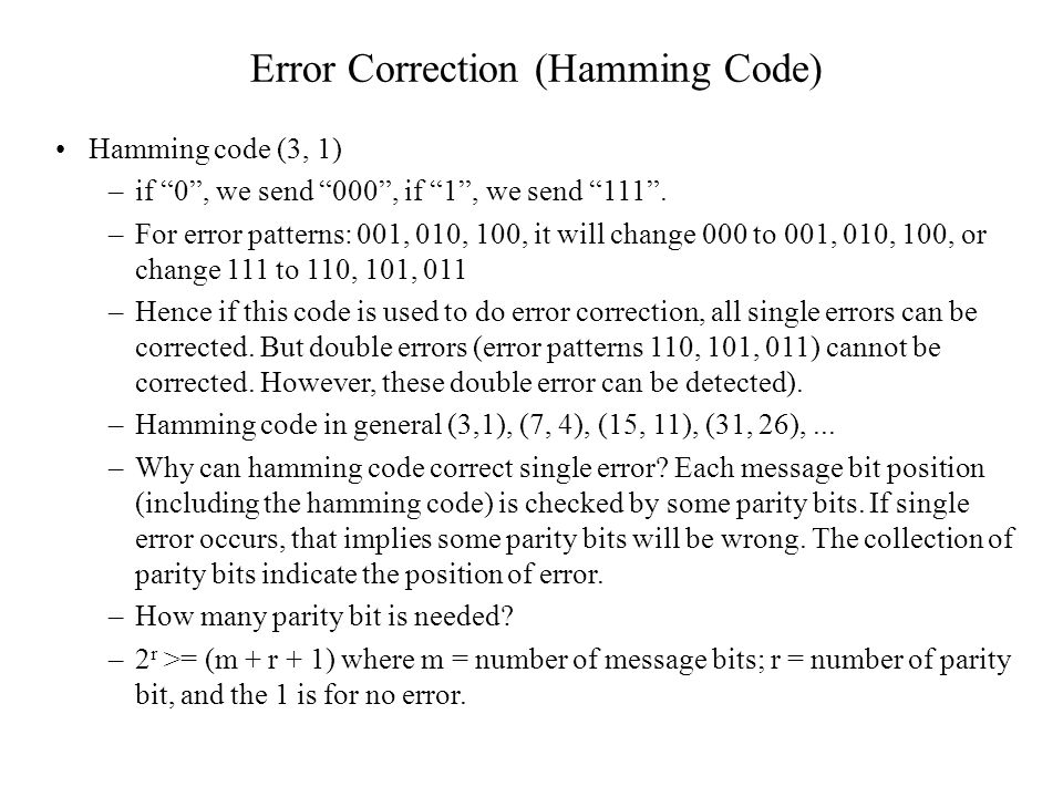 Error Correction (Hamming Code)