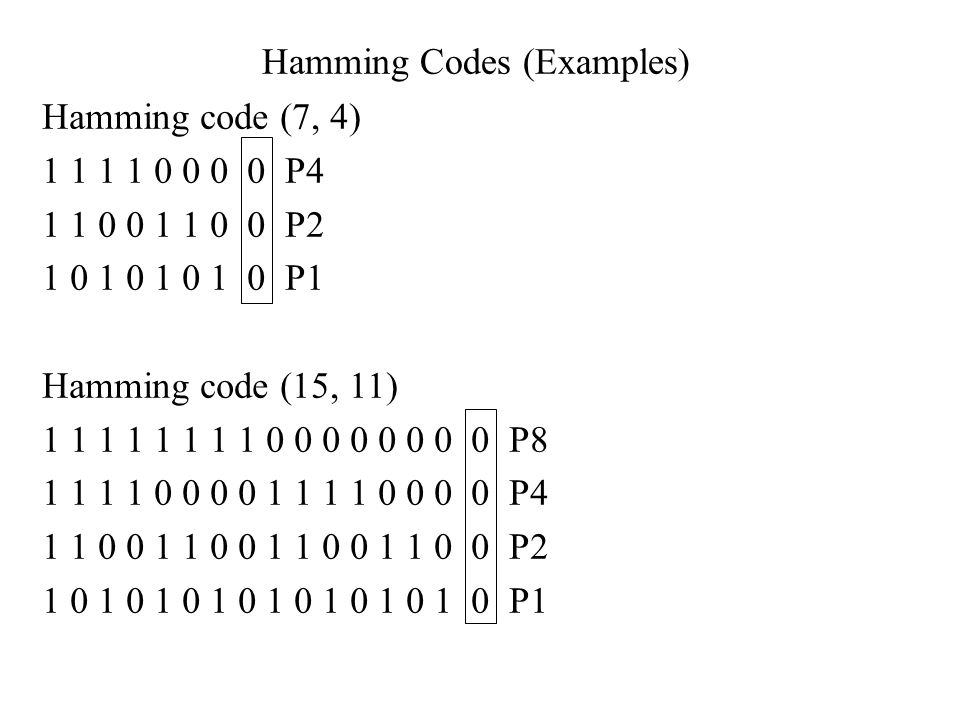 Hamming Codes (Examples)
