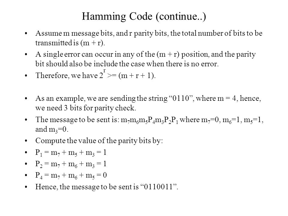 Hamming Code (continue..)