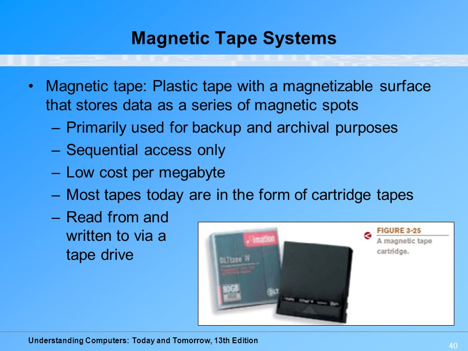 Magnetic Tape Systems Magnetic tape: Plastic tape with a magnetizable surface that stores data as a series of magnetic spots.
