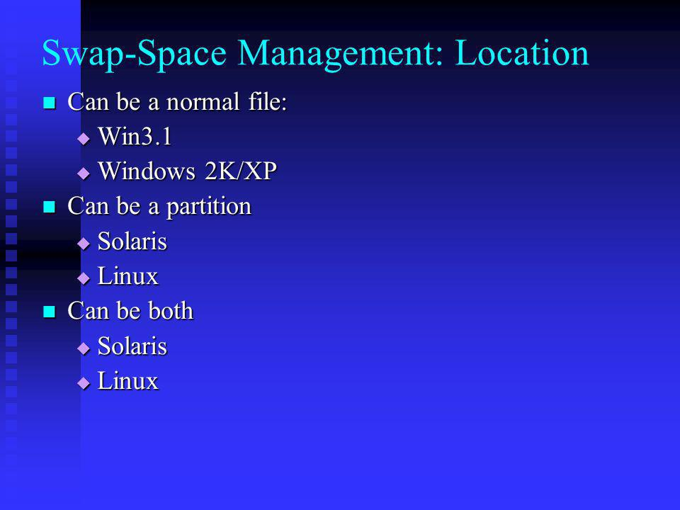 Swap-Space Management: Location