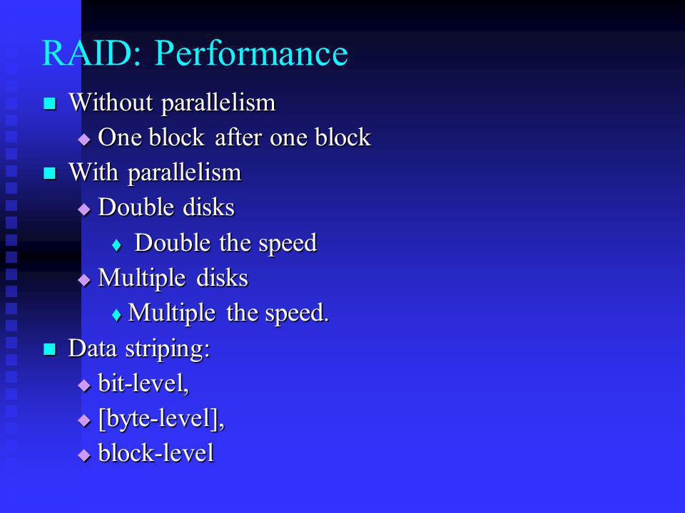 RAID: Performance Without parallelism One block after one block