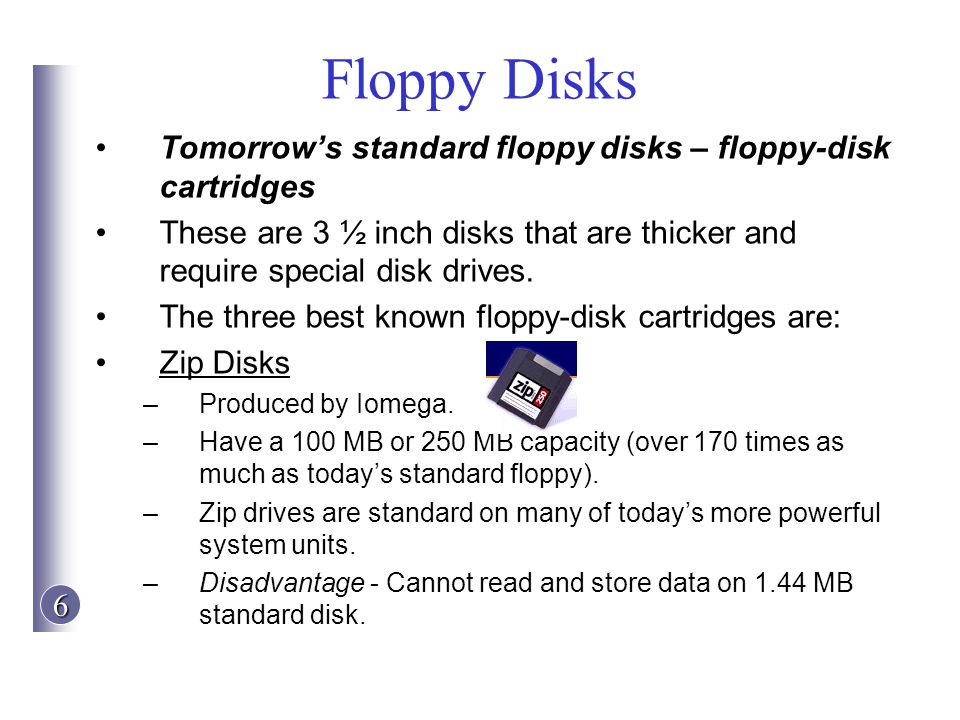 Floppy Disks Tomorrow's standard floppy disks – floppy-disk cartridges
