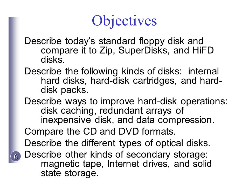 Objectives Describe today's standard floppy disk and compare it to Zip, SuperDisks, and HiFD disks.