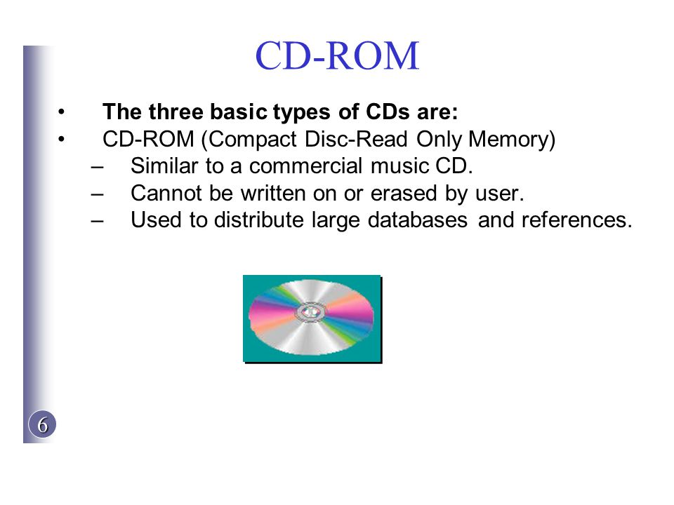CD-ROM The three basic types of CDs are: