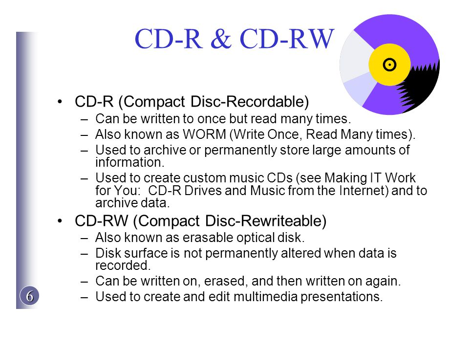 CD-R & CD-RW CD-R (Compact Disc-Recordable)