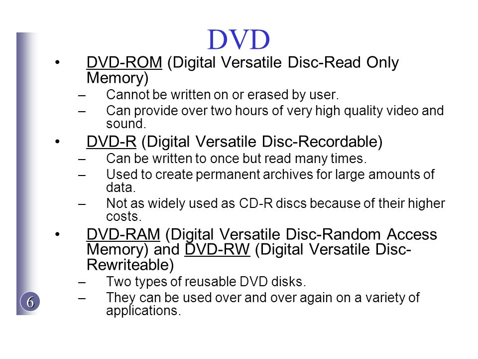 DVD DVD-ROM (Digital Versatile Disc-Read Only Memory)