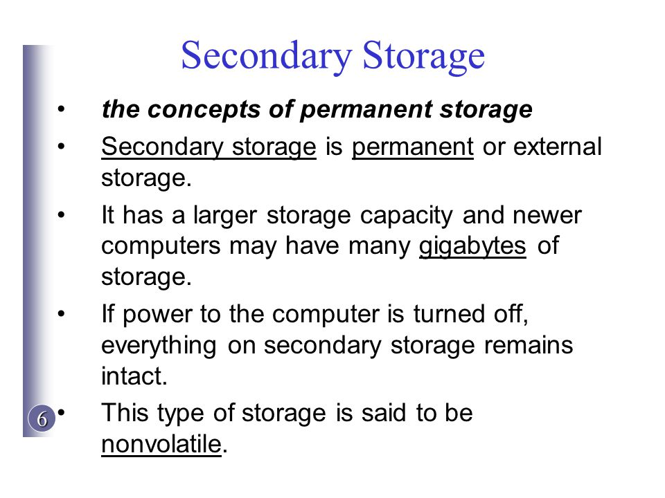 Secondary Storage the concepts of permanent storage
