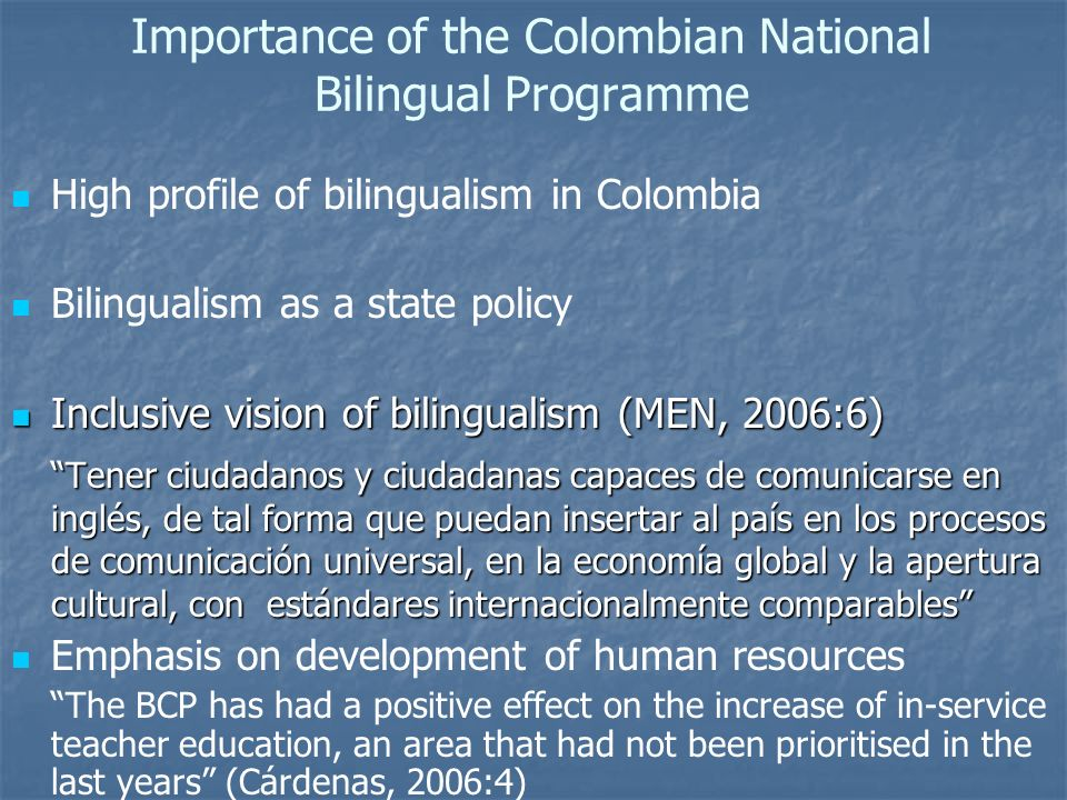 Importance of the Colombian National Bilingual Programme