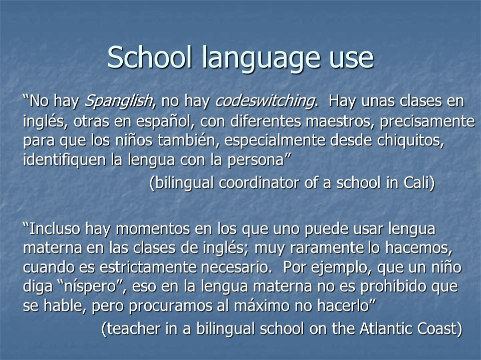 School language use