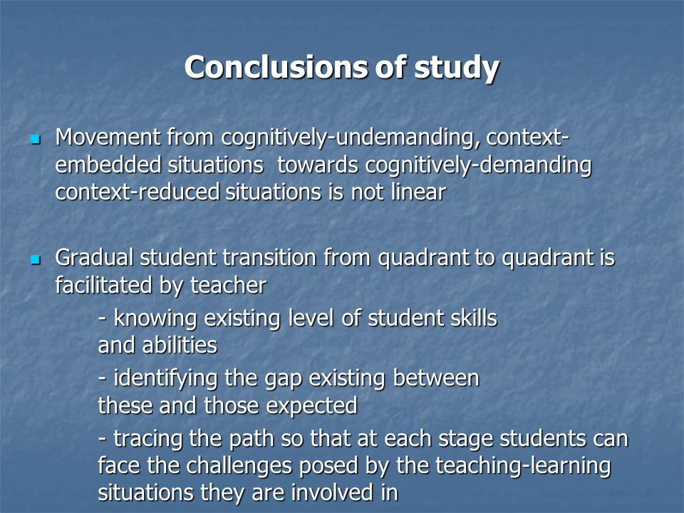 Conclusions of study