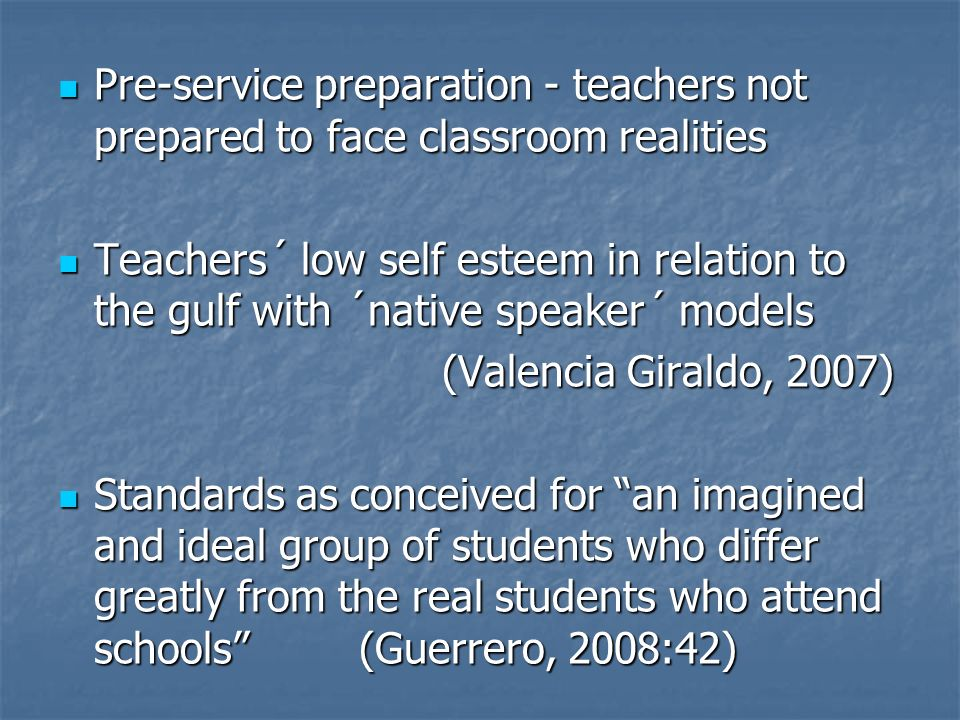 Pre-service preparation - teachers not prepared to face classroom realities