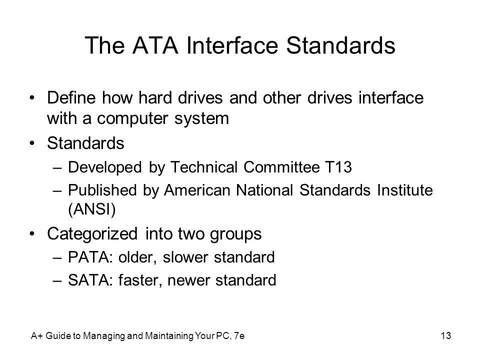 The ATA Interface Standards