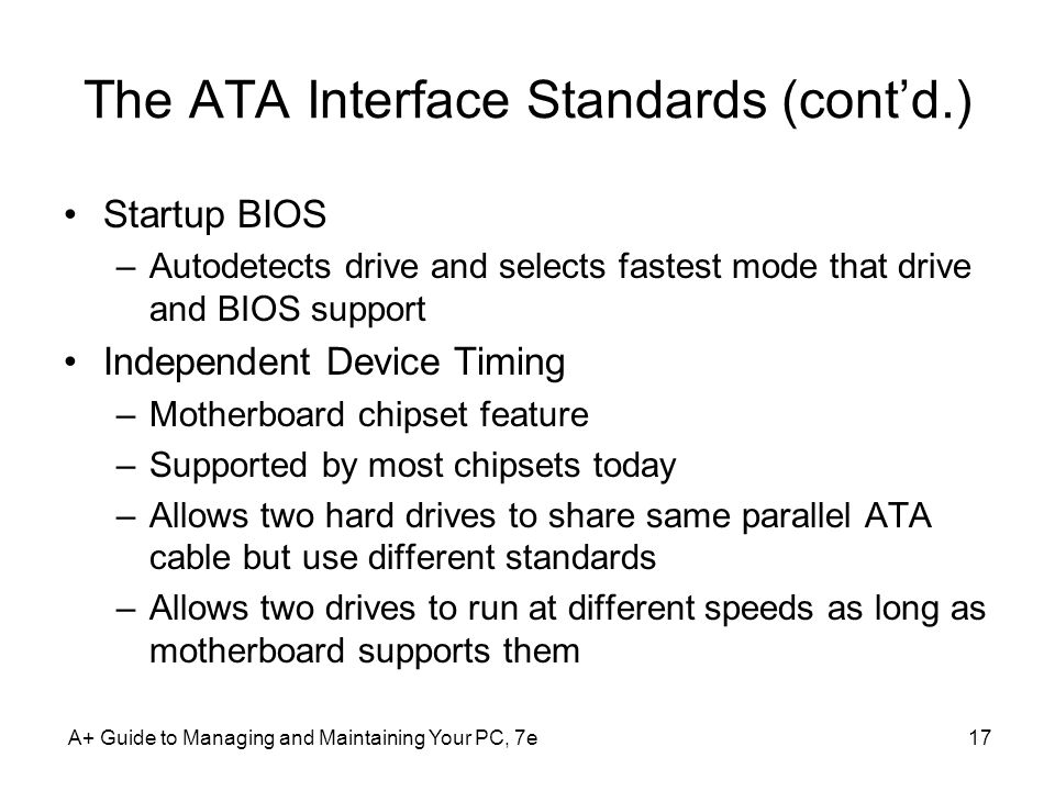 The ATA Interface Standards (cont'd.)