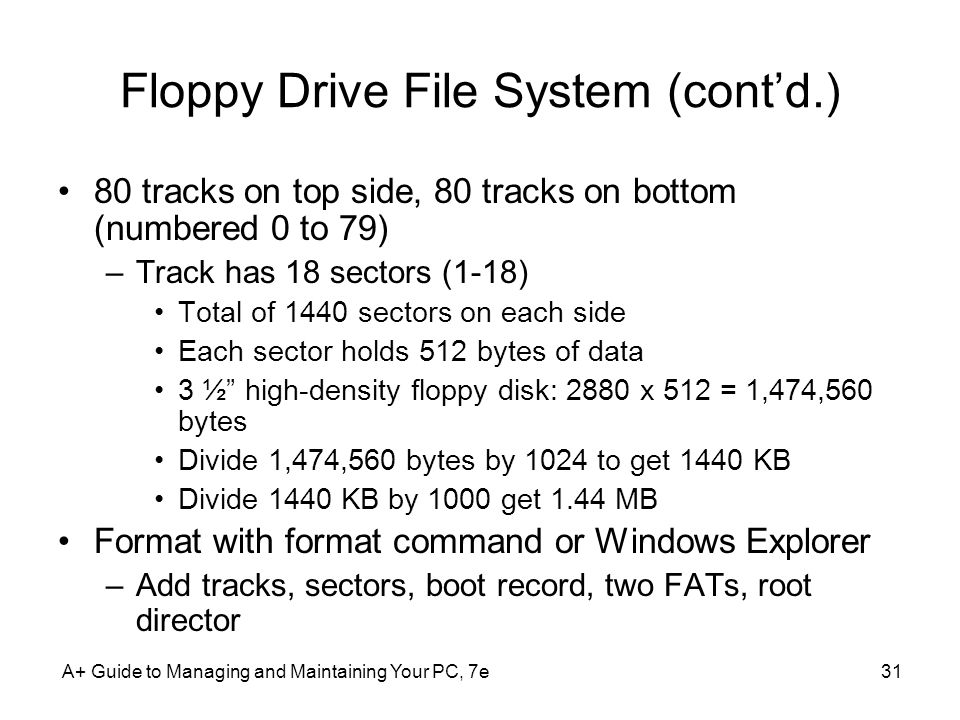 Floppy Drive File System (cont'd.)
