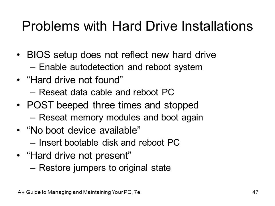 Problems with Hard Drive Installations