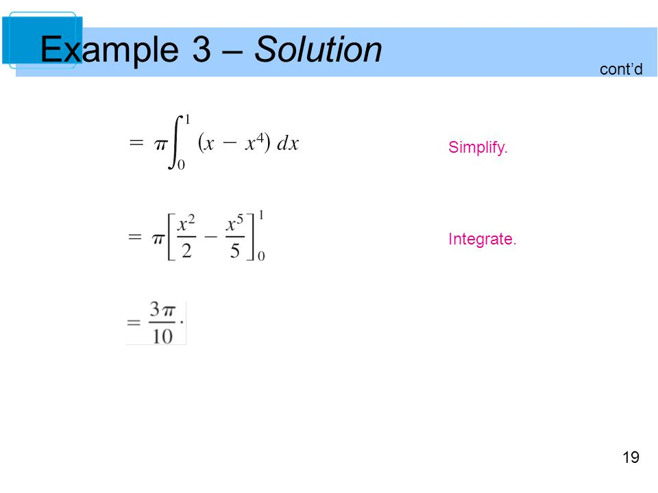 Example 3 – Solution cont'd Simplify. Integrate.