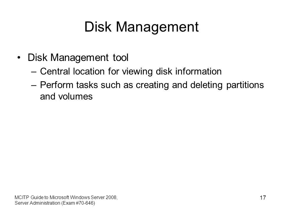 Disk Management Disk Management tool