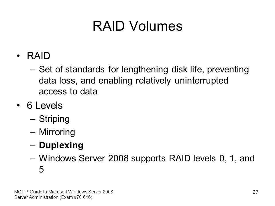 RAID Volumes RAID 6 Levels