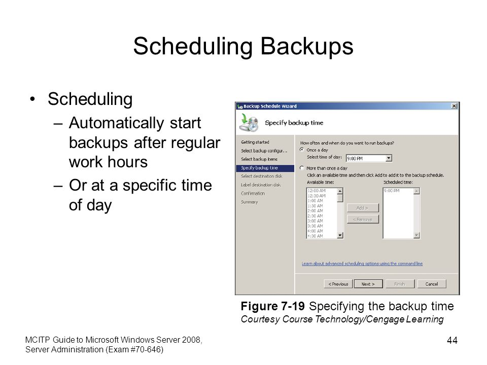 Scheduling Backups Scheduling