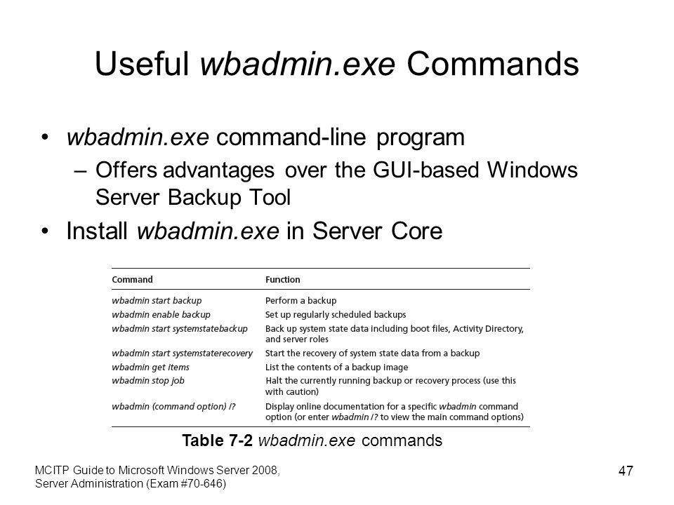 Useful wbadmin.exe Commands