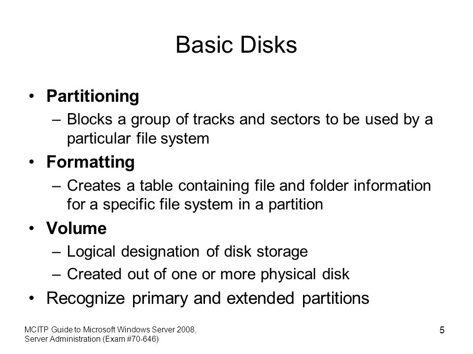 Basic Disks Partitioning Formatting Volume