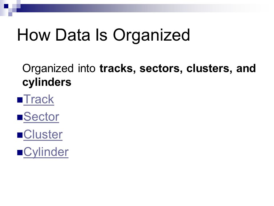 How Data Is Organized Track Sector Cluster Cylinder