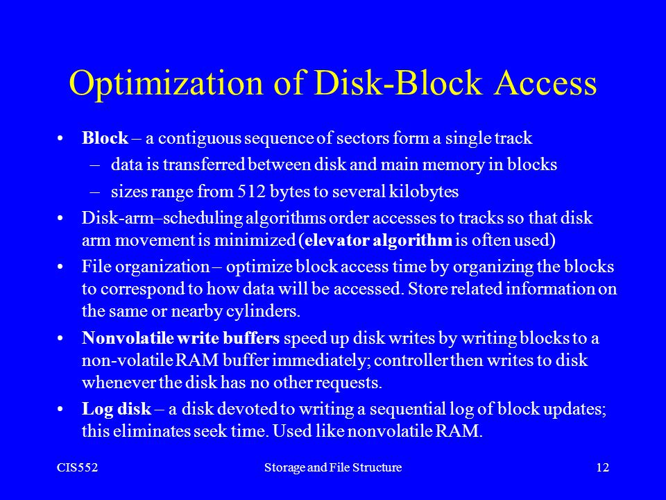 Optimization of Disk-Block Access
