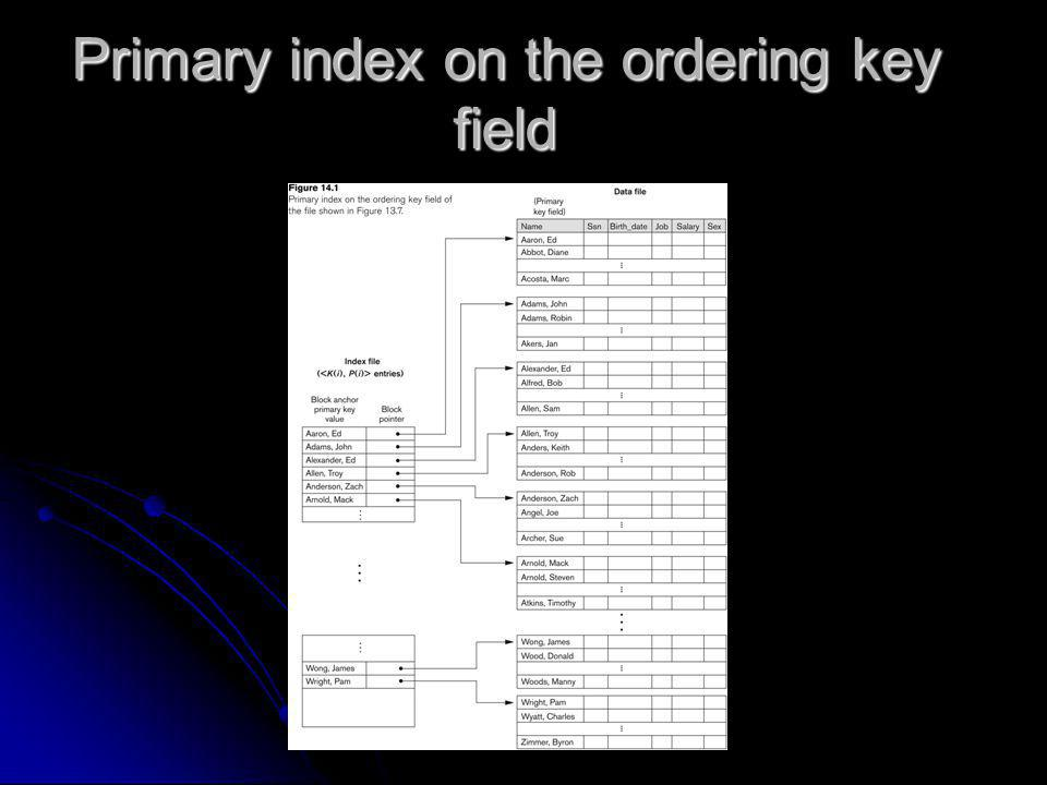 Primary index on the ordering key field
