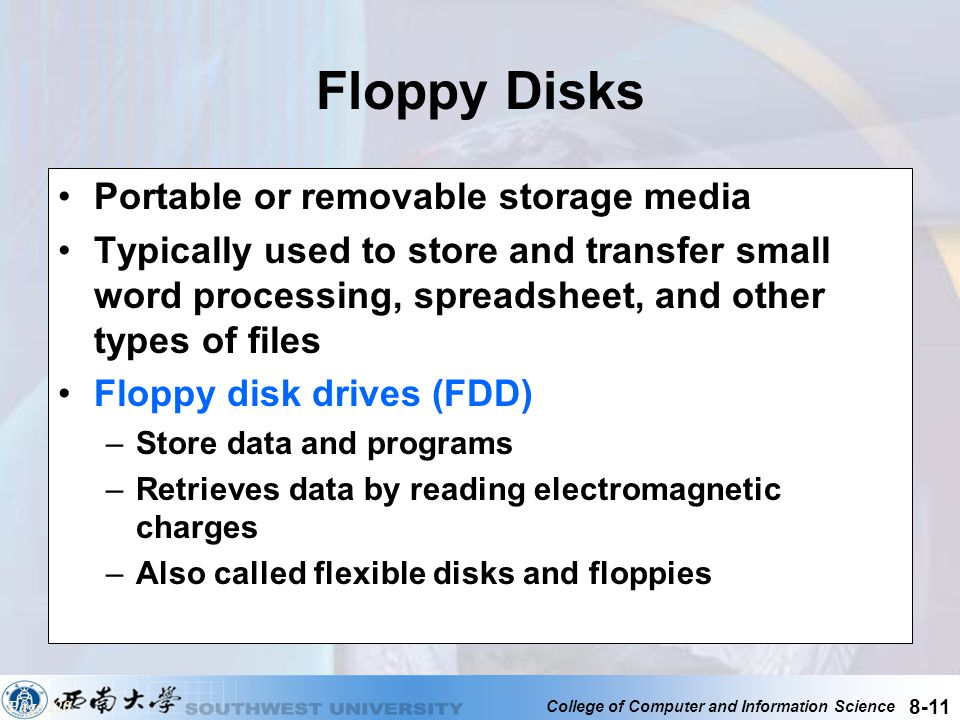 Floppy Disks Portable or removable storage media