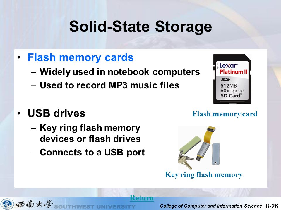 Solid-State Storage Flash memory cards USB drives