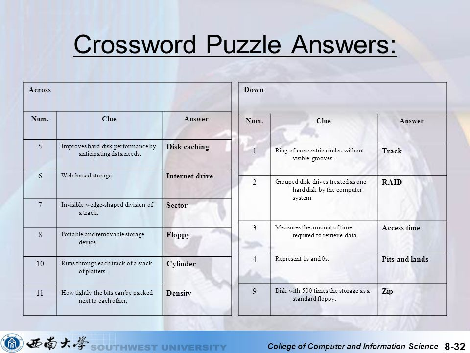 Crossword Puzzle Answers: