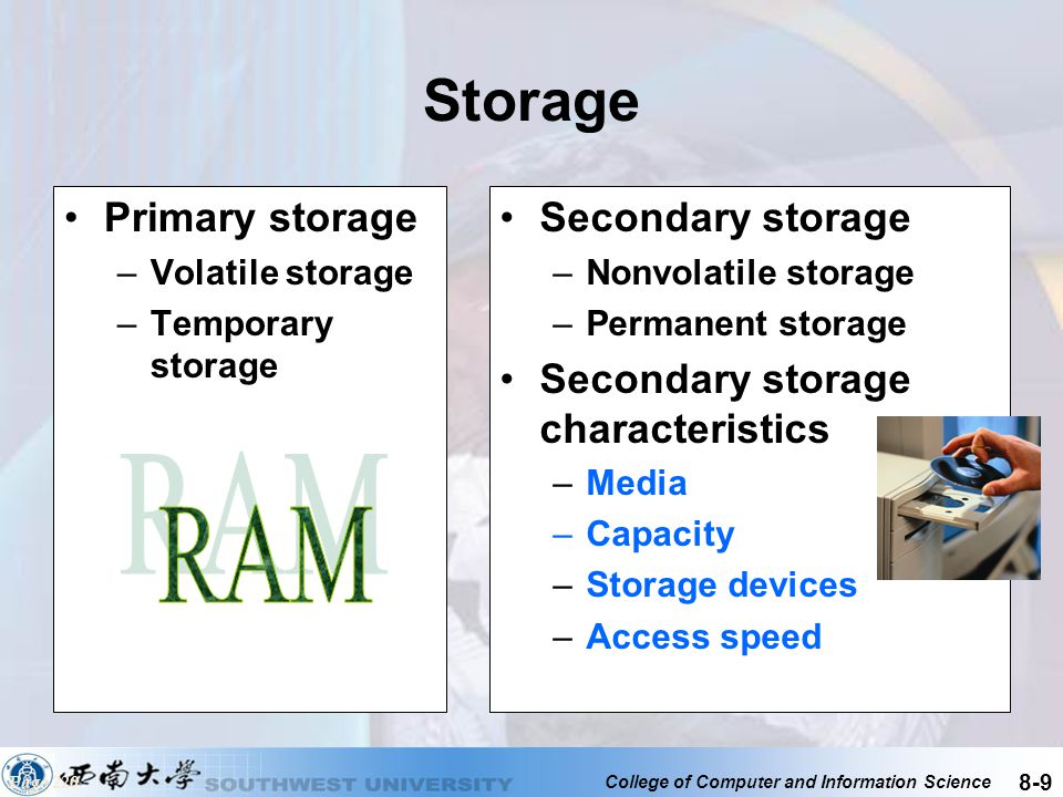 Storage RAM Primary storage Secondary storage