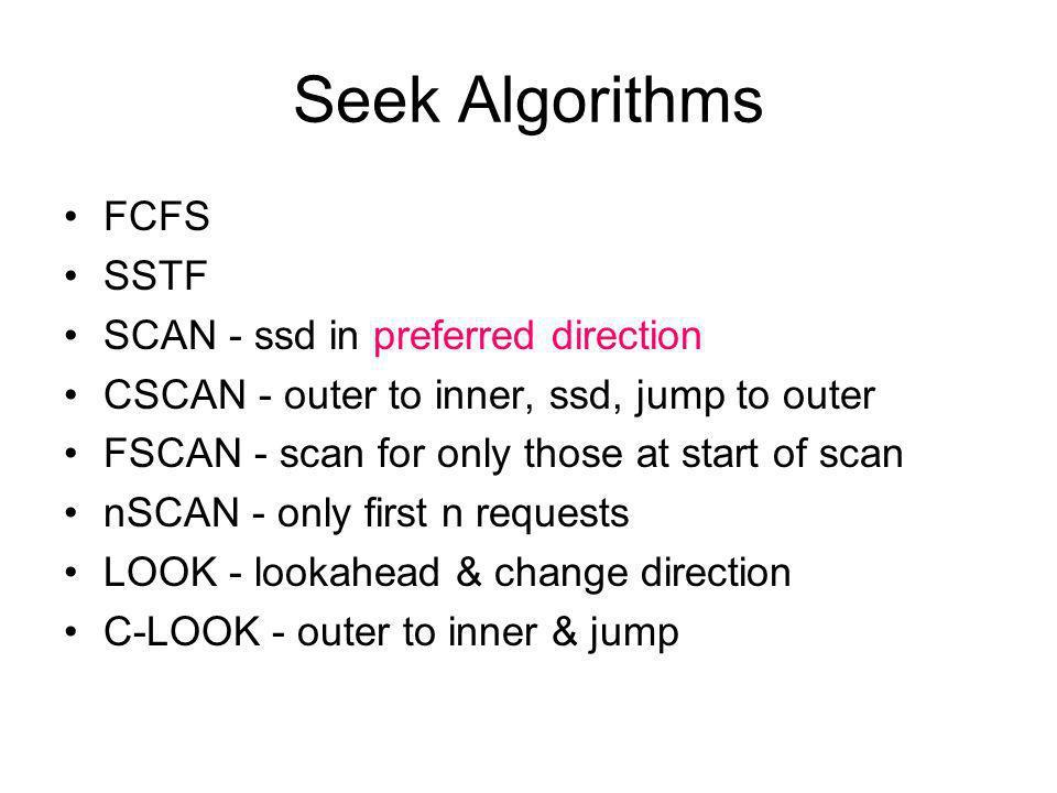 Seek Algorithms FCFS SSTF SCAN - ssd in preferred direction
