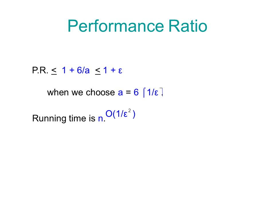 Performance Ratio P.R. < 1 + 6/a < 1 + ε