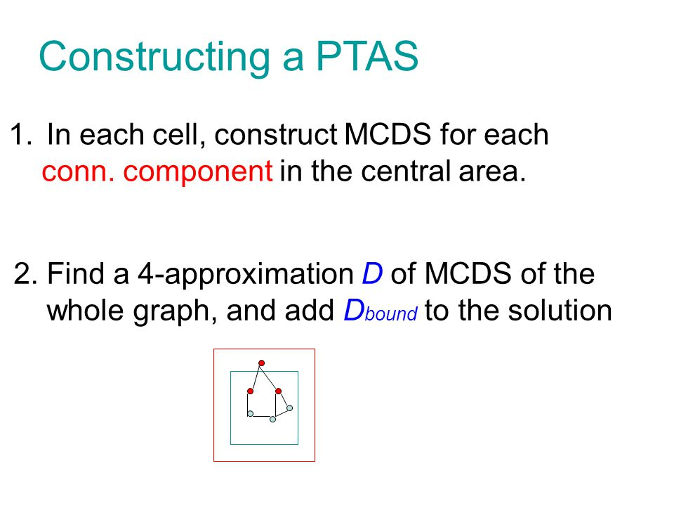Constructing a PTAS In each cell, construct MCDS for each